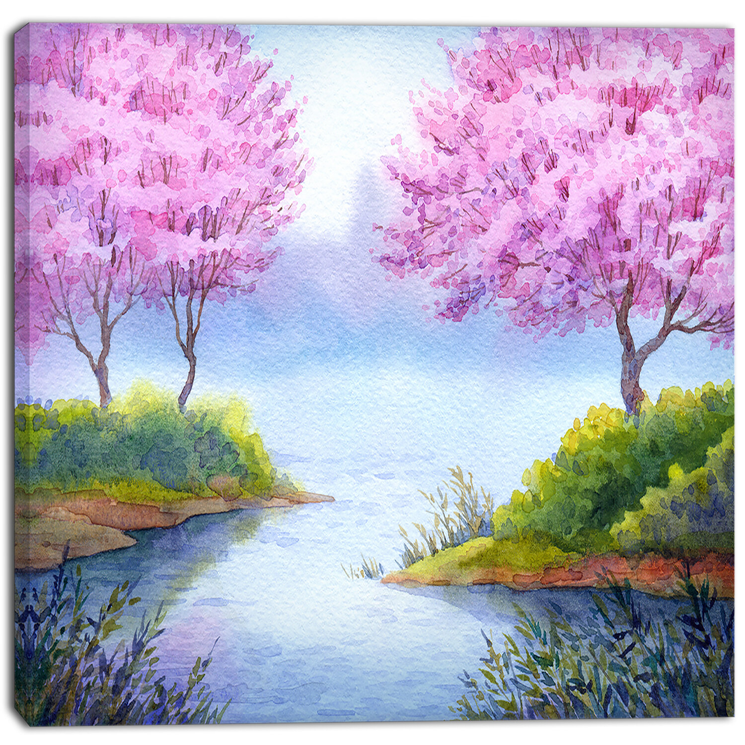 Designart Flowering Trees Over Lake Landscape Painting Print On Wrapped Canvas Wayfair