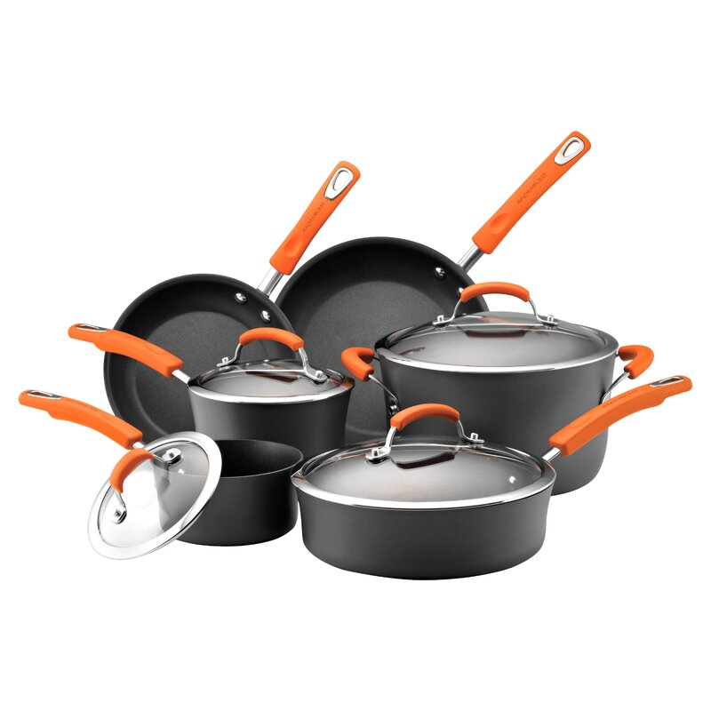 Rachael Ray Hard-Anodized Non-Stick 10 Piece Cookware Set ...