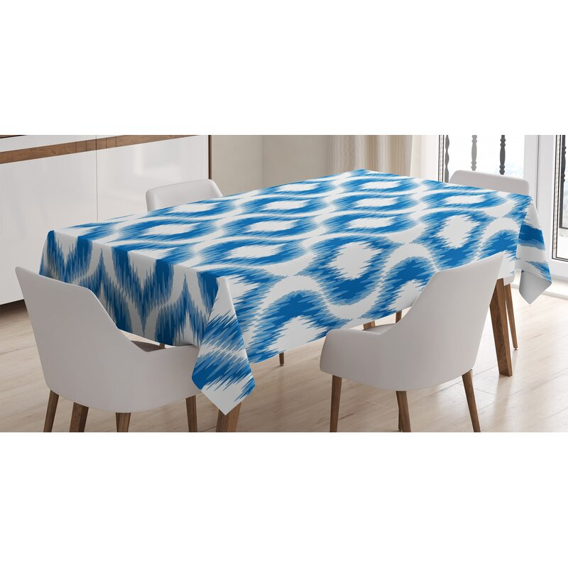 East Urban Home Ambesonne Ikat Tablecloth Ikat Damask Linked Motifs Pattern Blurry Over Finer Tied Warp And Weft Yarns Design Rectangular Table Cover For Dining Room Kitchen Decor 52 X 70 Blue