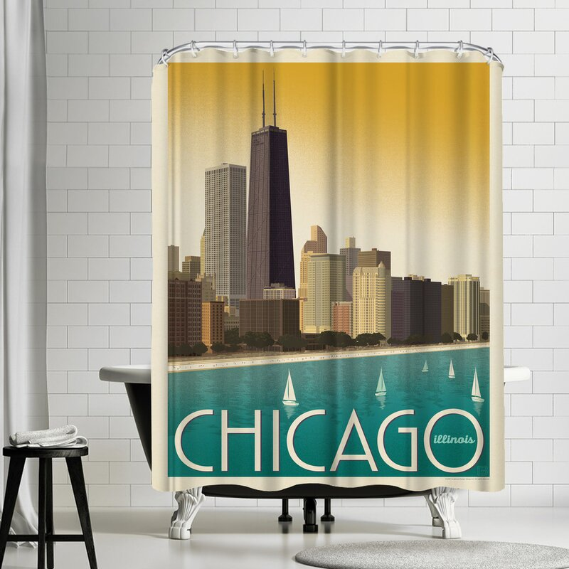 Chicago Modern Skyline Shower Curtain