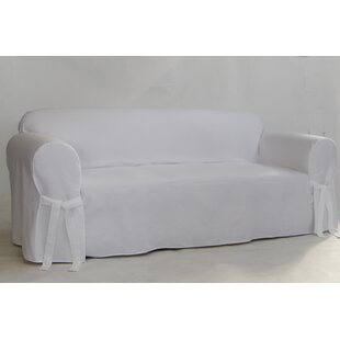 Twill One Piece Box Cushion Sofa Slipcover