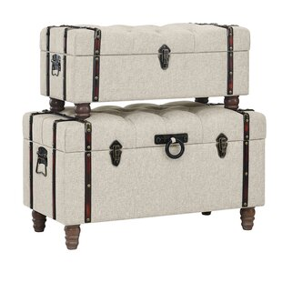 Keystone Tufted Linen 2 Piece Coffee Table Set with Storage