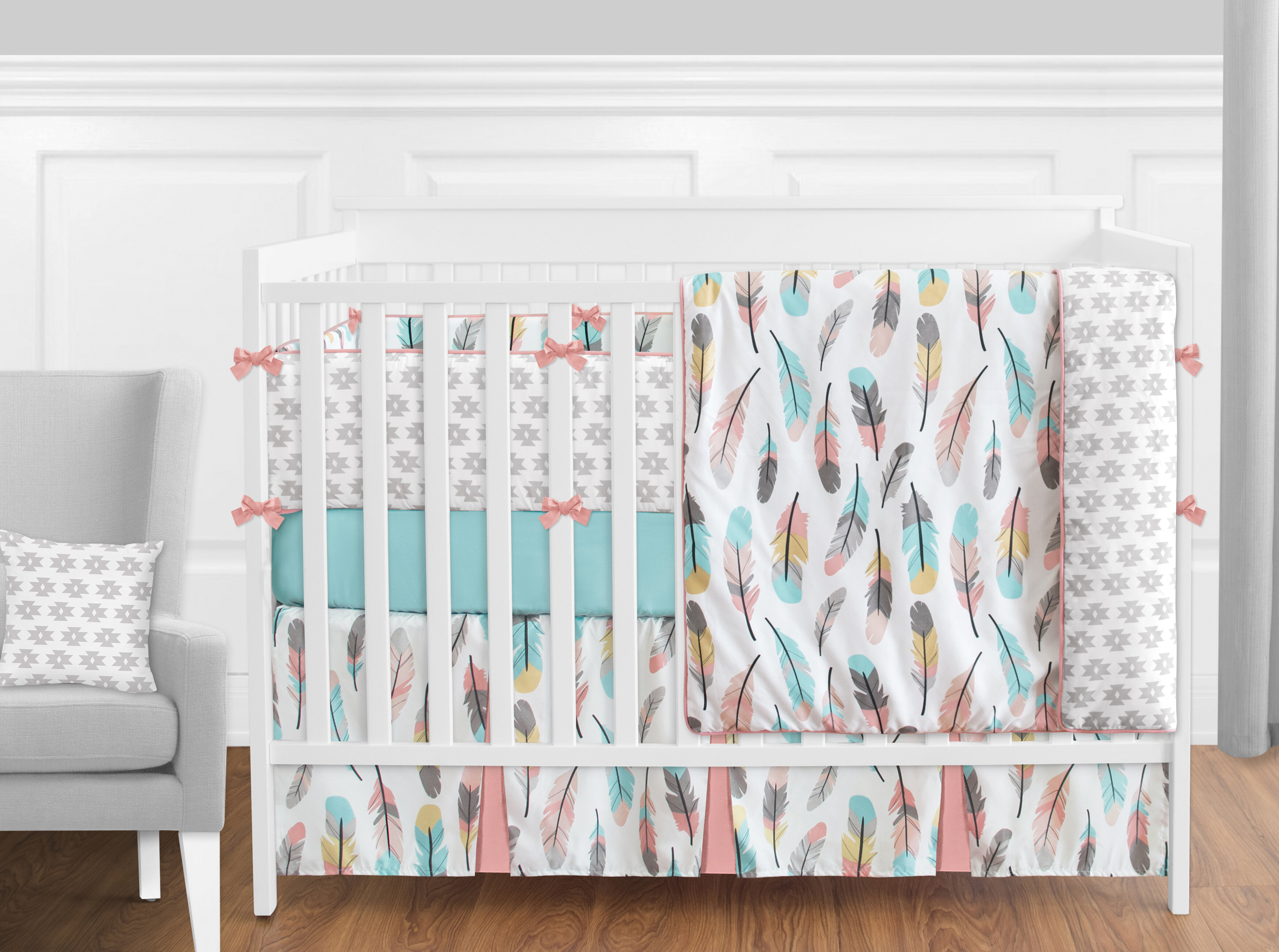 sweet product bedding grey overstock today piece jojo cribs free shabby chic designs shipping harper solid baby collection crib set color girl