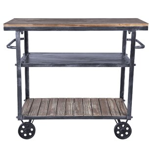 Gleason Kitchen Cart with Manufactured Wood Top Williston Forge