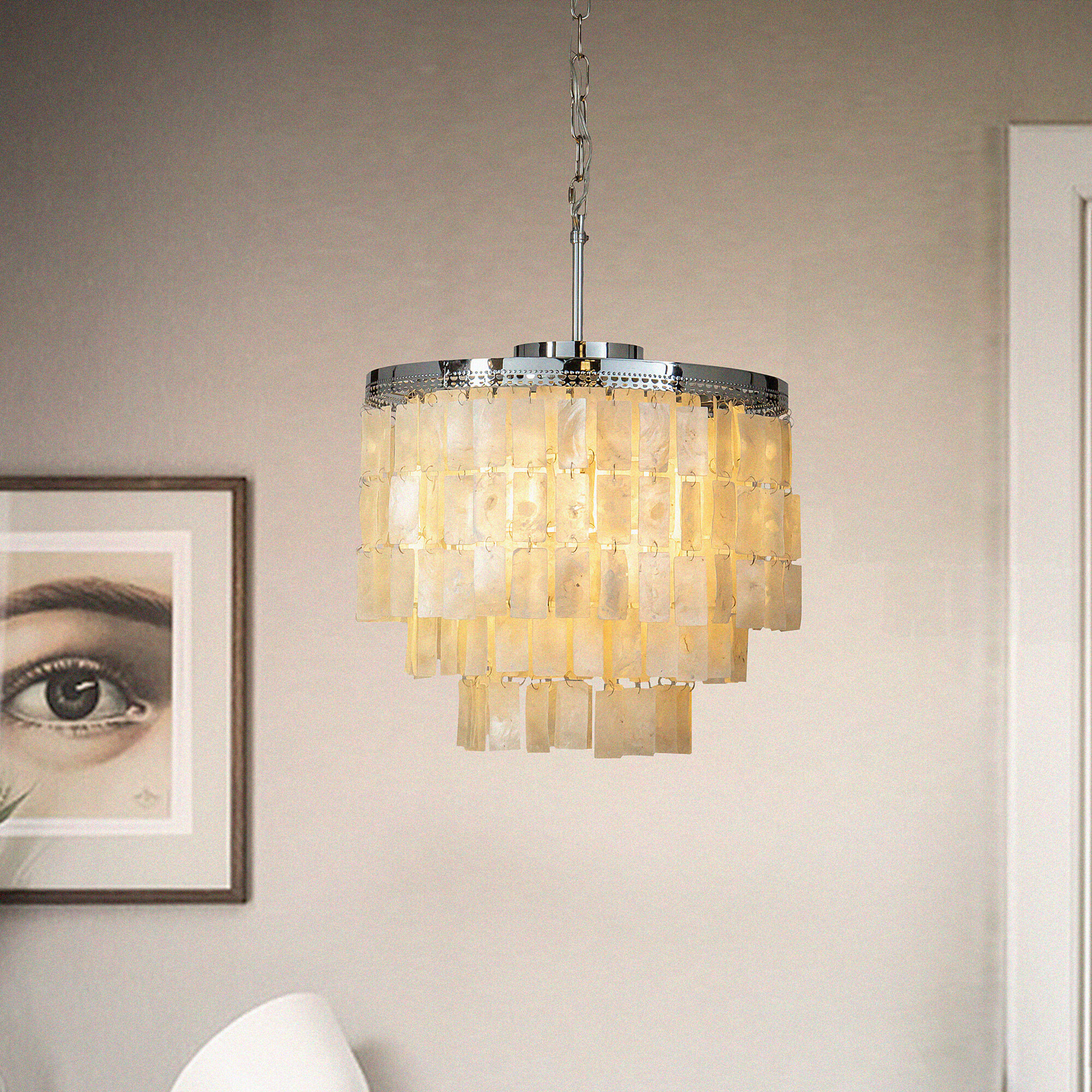 Everly Quinn Fuente 3 Light Unique Tiered Chandelier With Seashell Accents Wayfair Ca