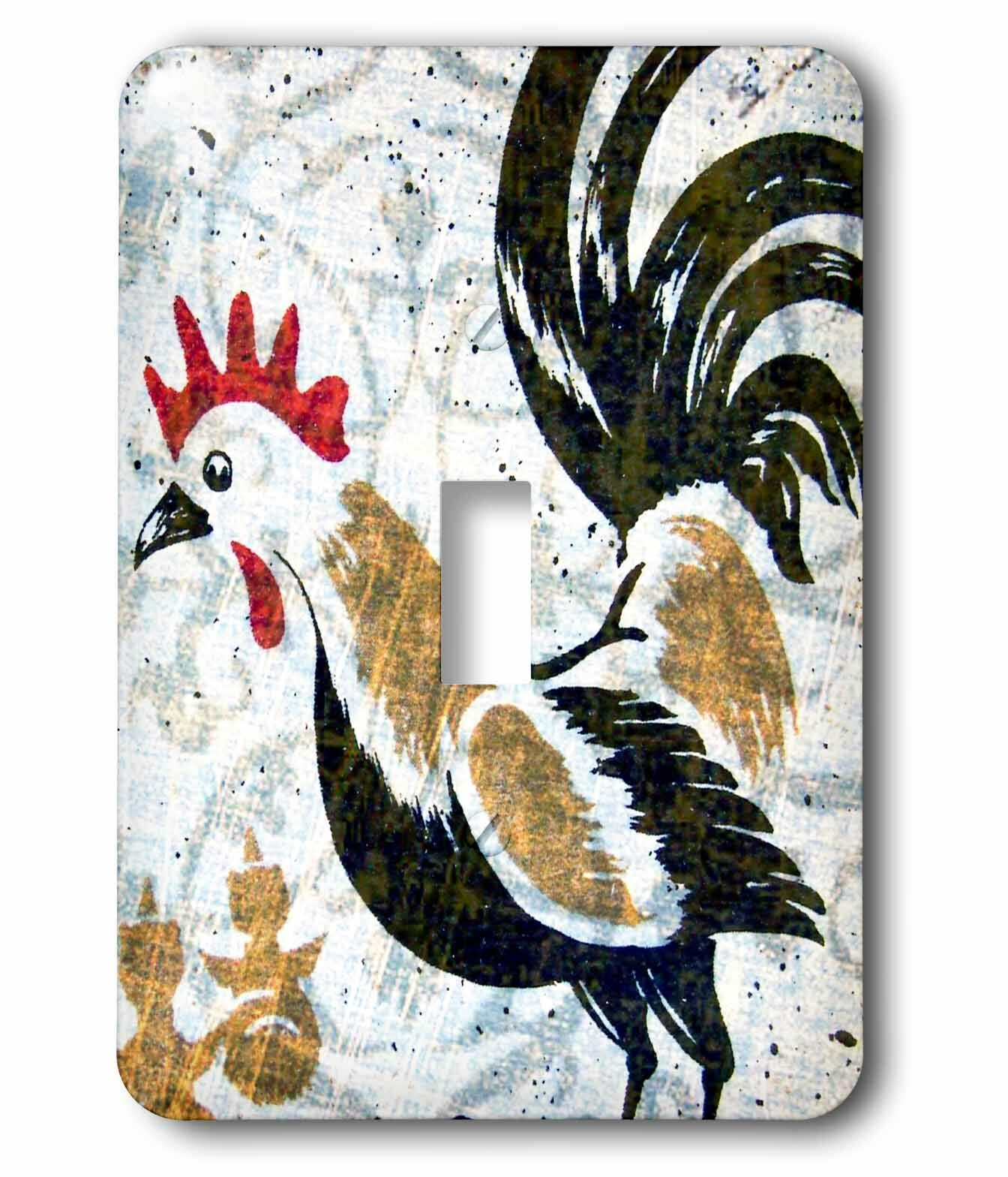 3drose Switch Vintage Rooster Digital Art By Angelandspot 1 Gang Toggle Light Switch Wall Plate Wayfair