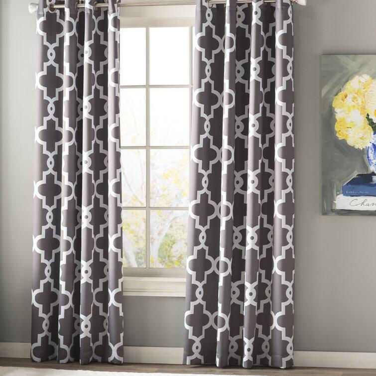 Neida Ironwork Sateen Woven Geometric Room Darkening Thermal Grommet Curtain Panels