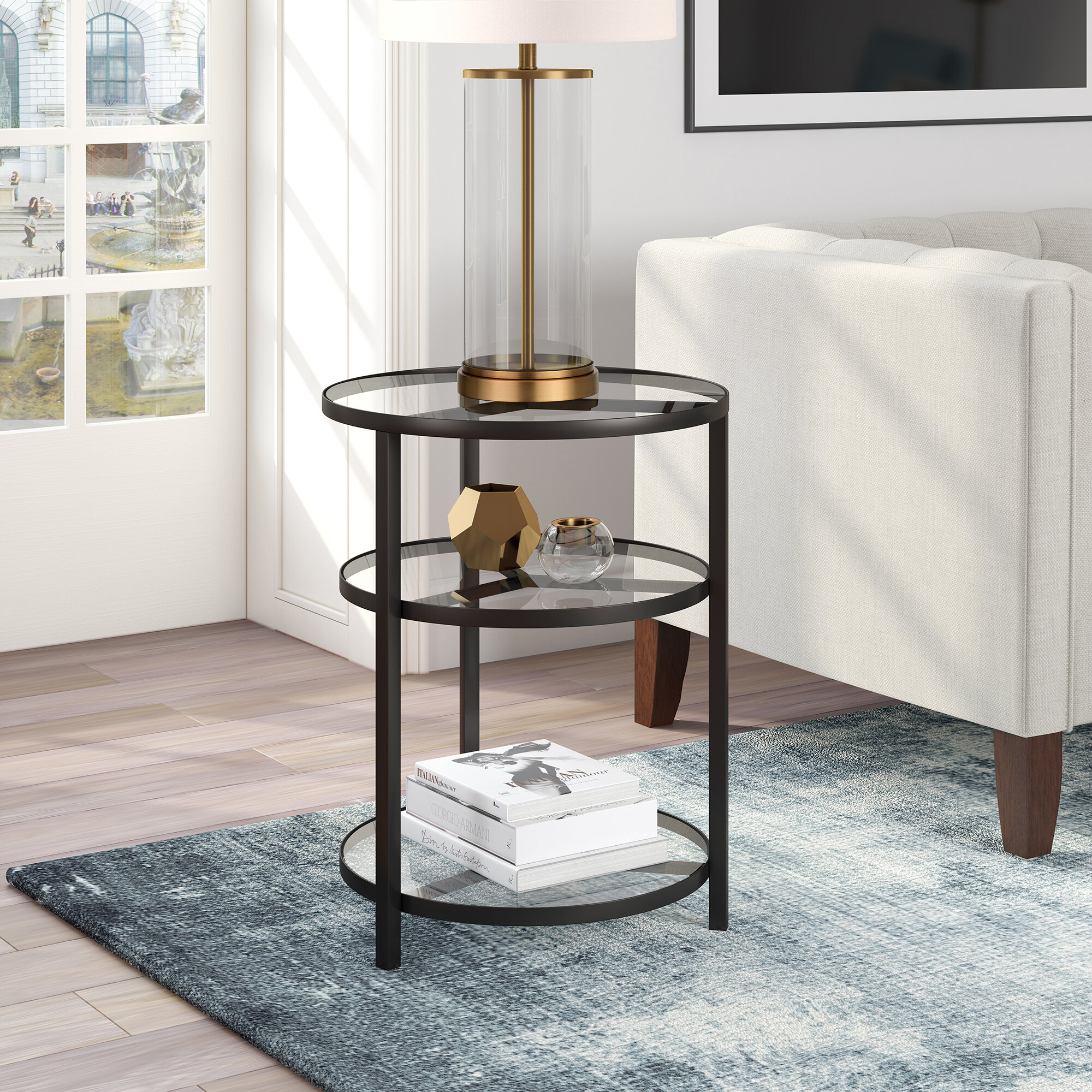 Breakwater Bay Goncalves Glass Top 3 Legs End Table With Storage Reviews Wayfair