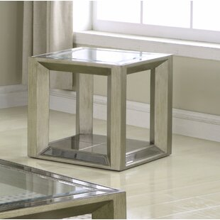 Compare Laury Glass End Table by Everly Quinn