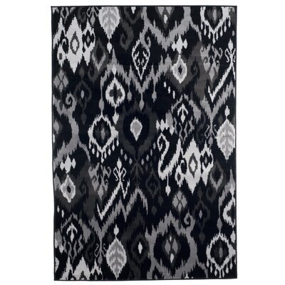 Ikat Blackgray Area Rug Plymouth Home