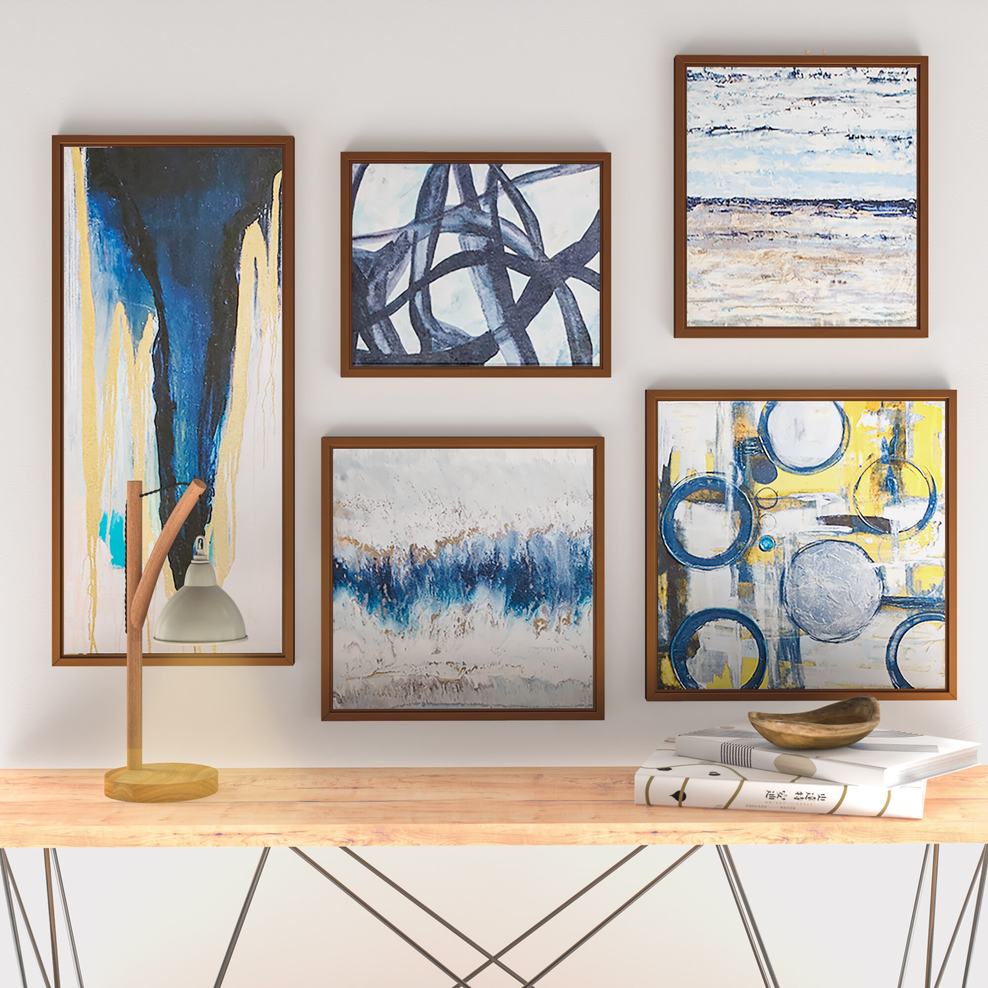 Yellow Blue Colourful Square Abstract Photo Canvas Wall Art Large Picture Prints