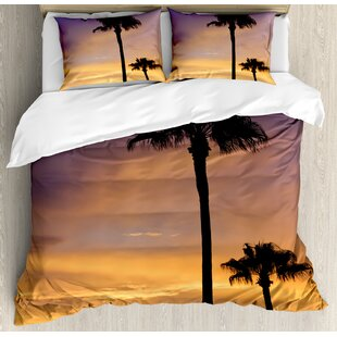 Tropical Duvet Cover Set Modern Illustration Of A Tropical Beach With Palm Trees And Hammock Hawaiian Relax 4 Piece Bedding Set Home Textile Bedding