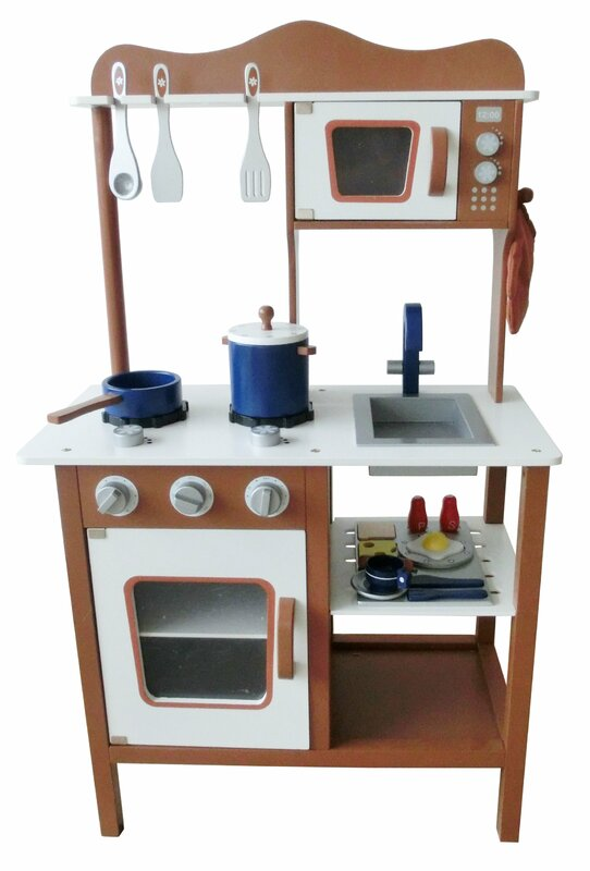 Modern Wooden Play Kitchen berry toys modern wooden play kitchen & reviews | wayfair