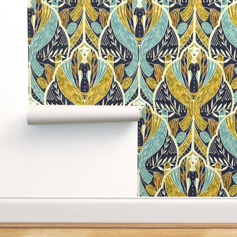 Ebern Designs Parthena Art Deco Goddess Removable Wallpaper   Wayfair