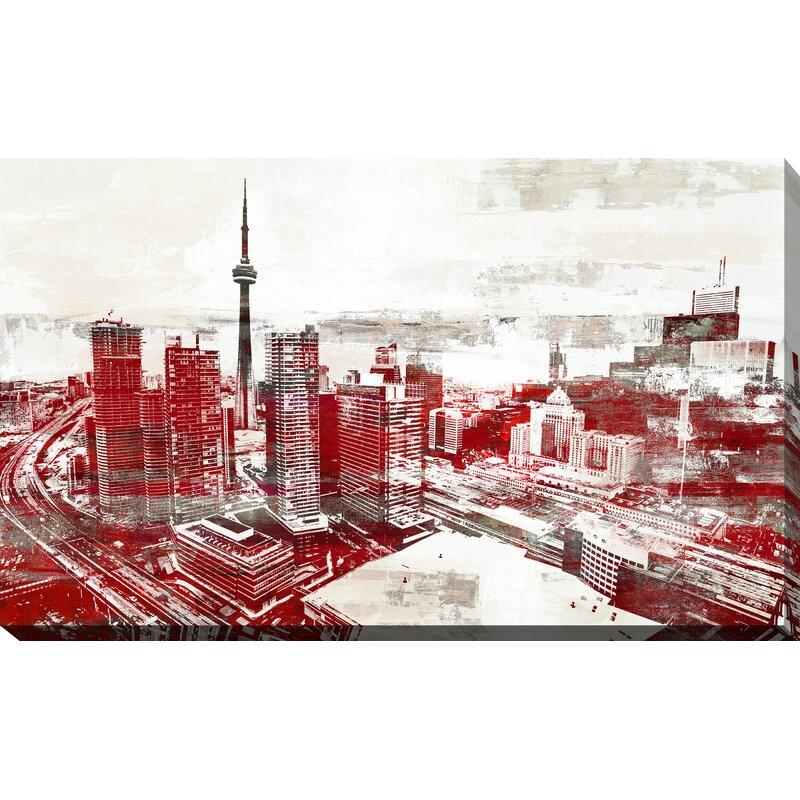Latitude Run Studio Toronto City View 2 Graphic Art Print On Wrapped Canvas Wayfair