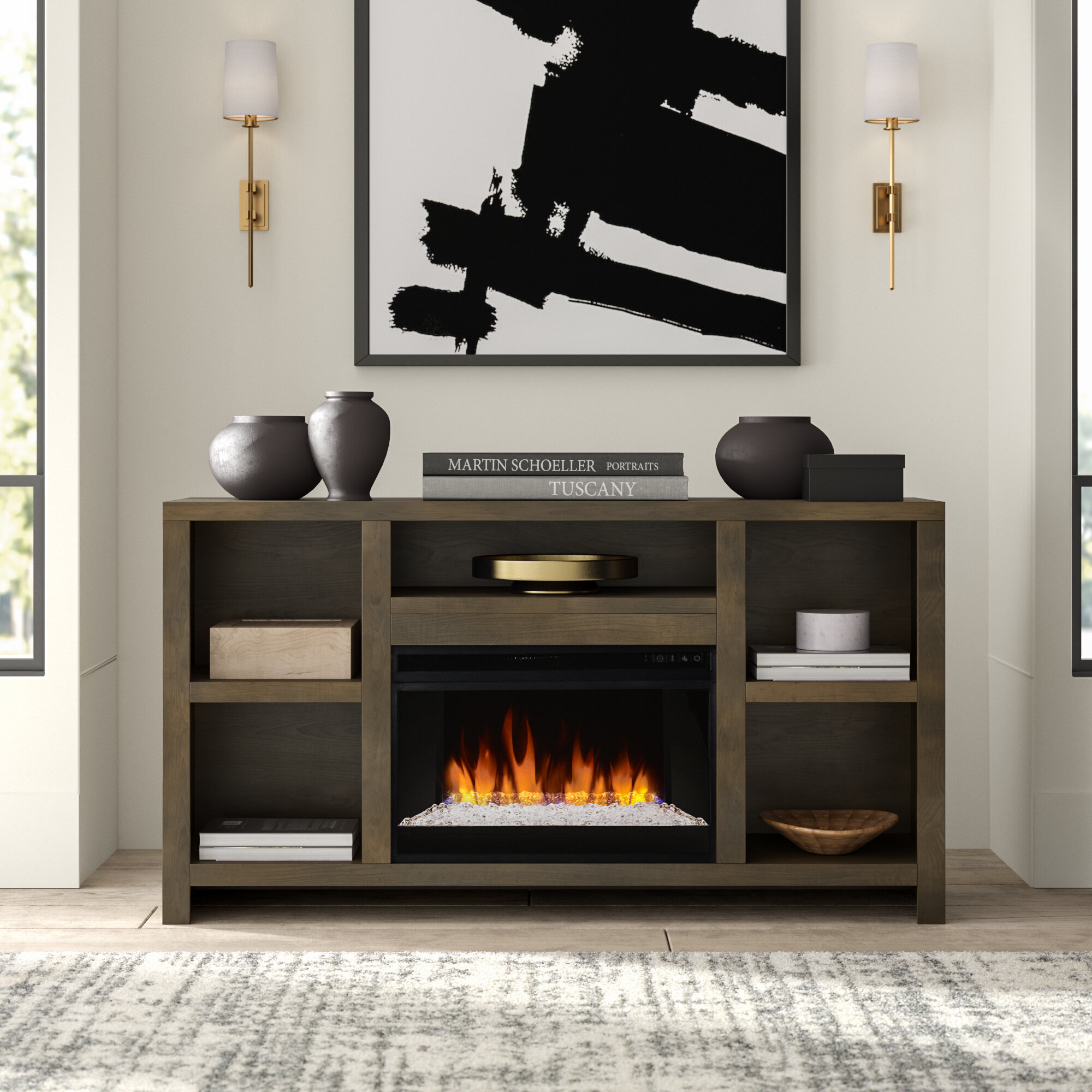 Greyleigh Columbia Tv Stand For Tvs Up To 75 With Electric Fireplace Included Reviews Wayfair