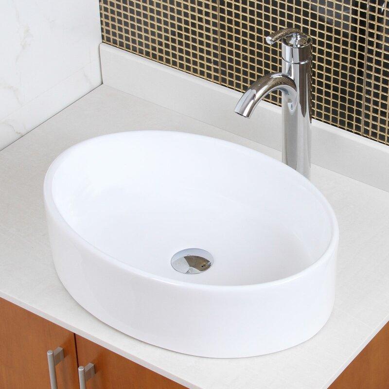 Bathroom Sinks Oval elite ceramic elliptical oval vessel bathroom sink & reviews | wayfair