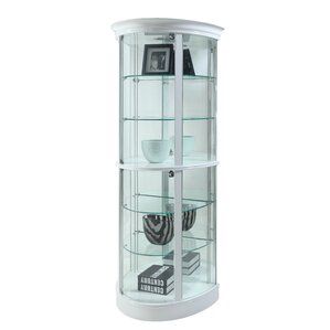 Mihaela Semi Circle Tempered Glass-Shelf Curio Cabinet by Latitude Run