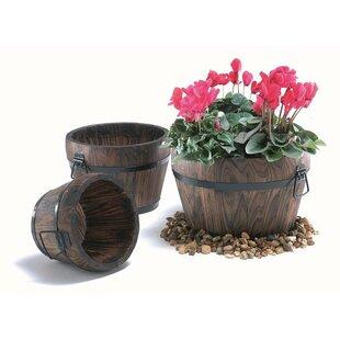 ElWooden 3 Piece Wooden Barrel Planter Set by Laurel Foundry