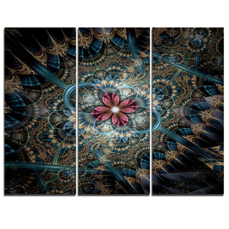 Designart Dark Purple Fractal Flower 3 Piece Graphic Art On Wrapped Canvas Set Wayfair