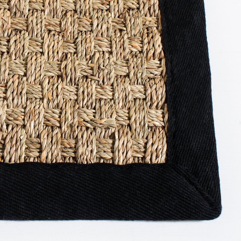 Beachcrest Home Delapena Hooked Natural Black Rug Reviews