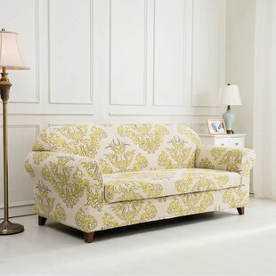 Printed Floral Box Cushion Sofa Slipcover