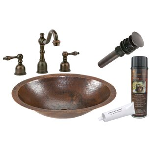 Metal Oval Undermount Bathroom Sink with Faucet By Premier Copper Products