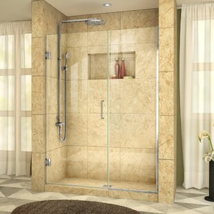 Unidoor Plus 54 x 72 Hinged Frameless Shower Door with Clearmax? Technology by DreamLine