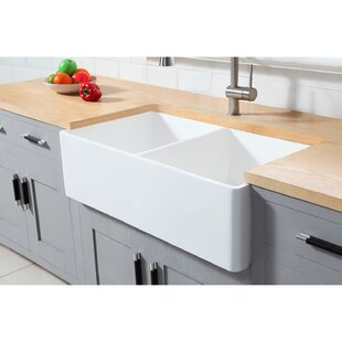 Gourmetier Arcticstone Solid Surface 33 x 18 Farmhouse?Apron Kitchen Sink