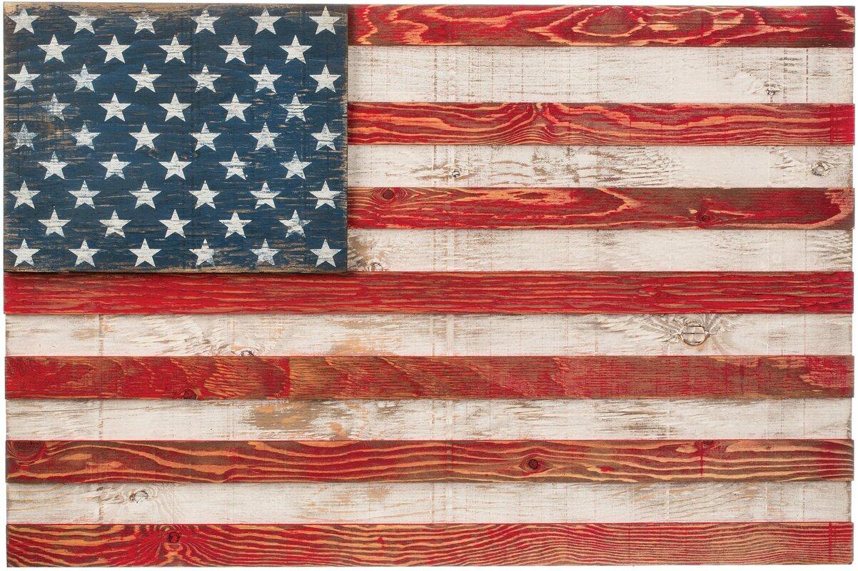 Wood Slat American Traditional Flag