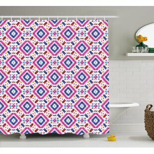Meredith Tribal Hand Drawn Seamless Pattern With Ethnic Mayan Stripes Art Image Single Shower Curtain