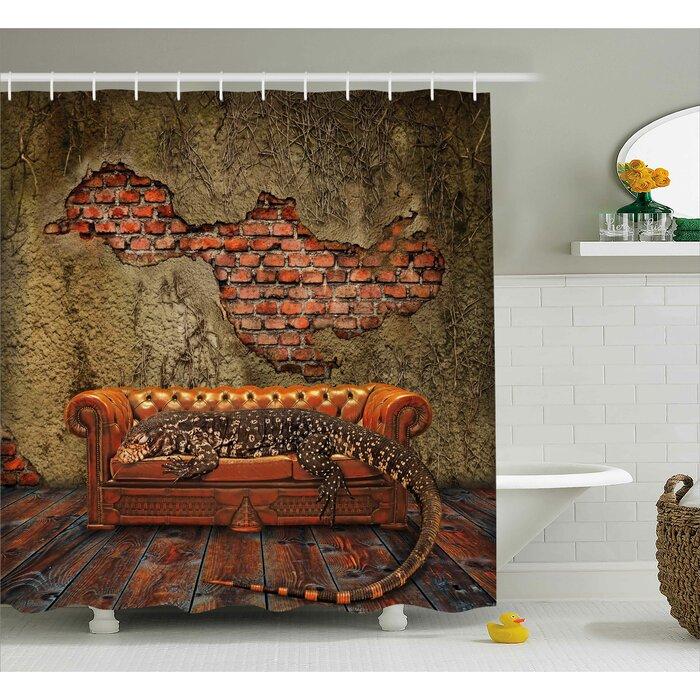 Fantasy Grunge Brick Wall Shower Curtain + Hooks