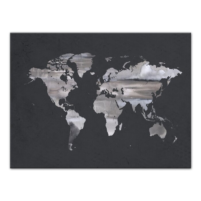 Wrought studio grey world map watercolor painting print on canvas grey world map watercolor painting print on canvas gumiabroncs