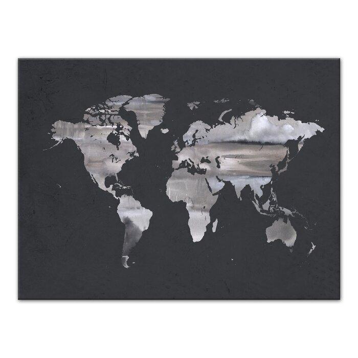 Wrought studio grey world map watercolor painting print on canvas grey world map watercolor painting print on canvas gumiabroncs Image collections