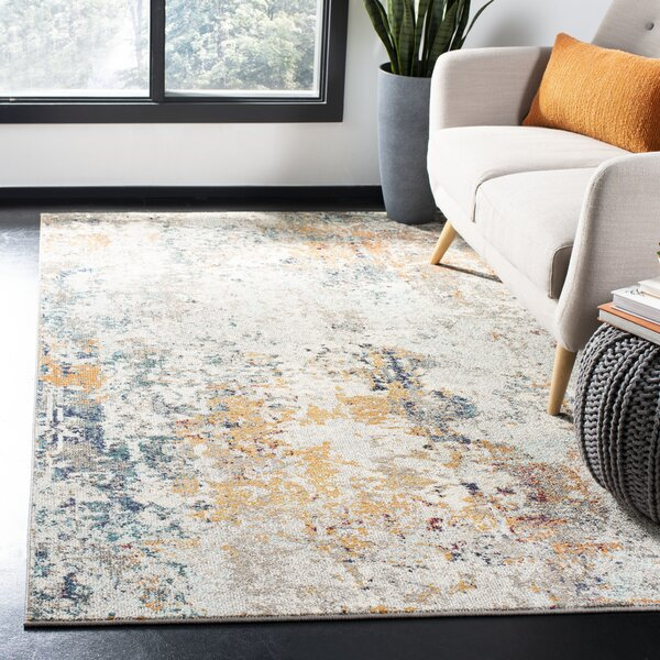 Bungalow Rose Abstract Gray Beige Area Rug Reviews Wayfair