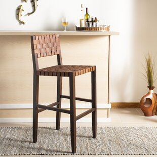 Delaria Leather Woven 30 Bar Stool by World Menagerie #2