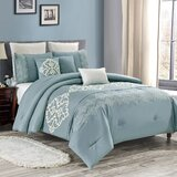 Bedding Comforter Set Bed In A Bag - 8 Piece Luxury Embroidery Microfiber Bedding Sets - Oversized Bedroom Comforters, Queen Size, Blue