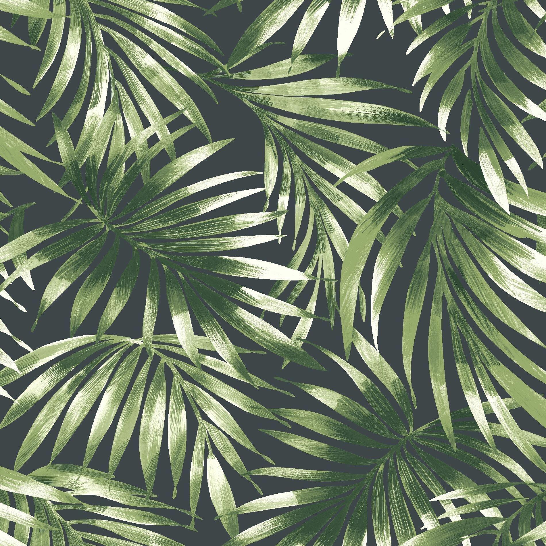 52cm x 10.5m East Urban Home Nocturnum Leaf 10m x 52cm Wallpaper Roll