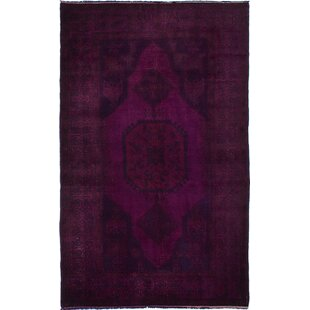 Read Reviews One-of-a-Kind Bevin Hand-Knotted 5'6 x 9'0 Wool Purple/Black Area Rug By Isabelline