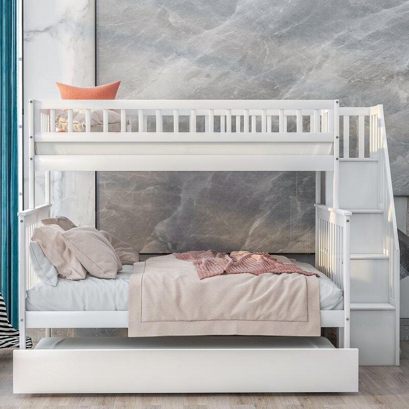 Isabelle Max Newcastleton Twin Over Full Bunk Bed With Trundle And Shelves Wayfair