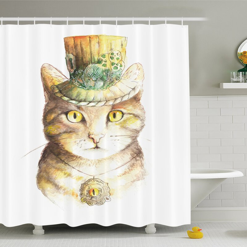 Cat Spiritual With Hat And Occult Eye Collar Grunge Celtic Trick Shower Curtain Set