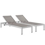 Kelli Reclining  Chaise Lounge Outdoor Patio Aluminum Single Chaise (Set of 2)