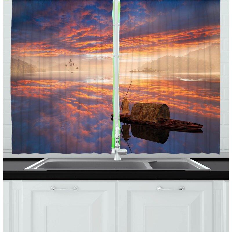East Urban Home Fantasy 2 Piece Kitchen Curtain Wayfair