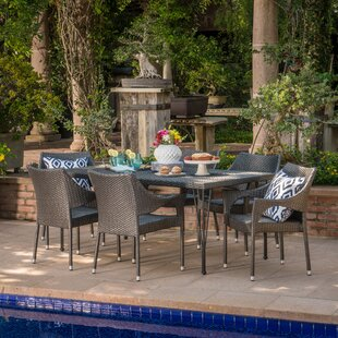 Hallam Outdoor Wicker 7 Piece Dining Set