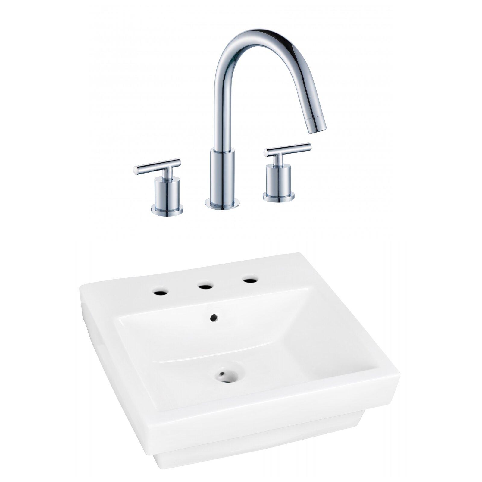 Royalpurplebathkitchen Above Counter Ceramic Rectangular Vessel Bathroom Sink With Faucet And Overflow Wayfair