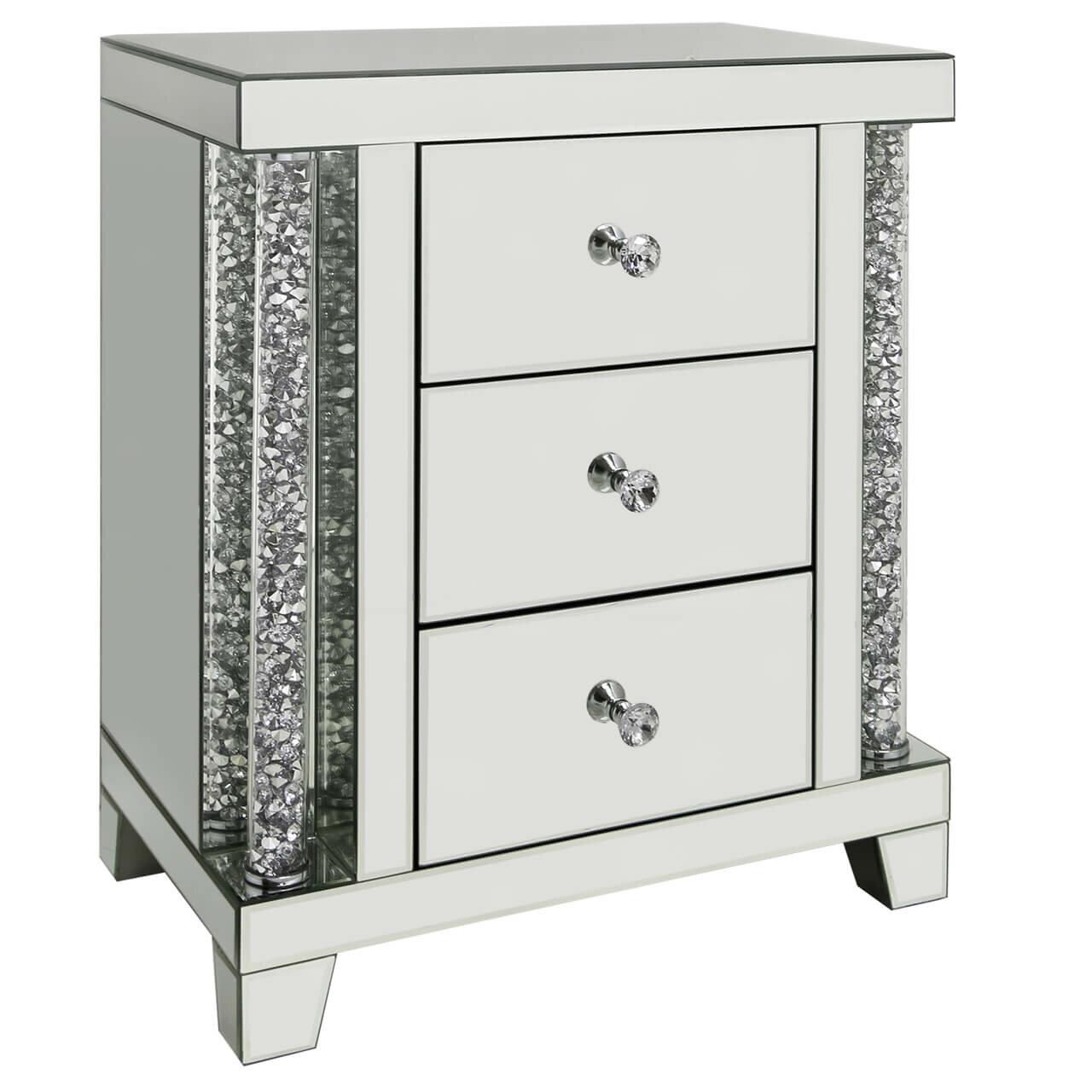 64e4f3958a5d Rosdorf Park Petersen Mirror 3 Drawer Bedside Table | Wayfair.co.uk