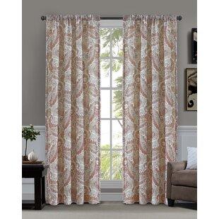 Basco Paisley Semi-Sheer Rod Pocket Single Curtain Panel by Charlton Home