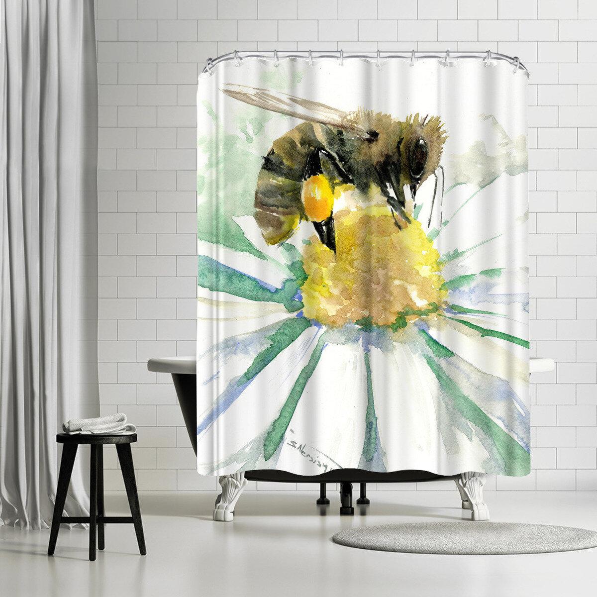 East Urban Home Suren Nersisyan Bee On Chamomile Single Shower Curtain Wayfair