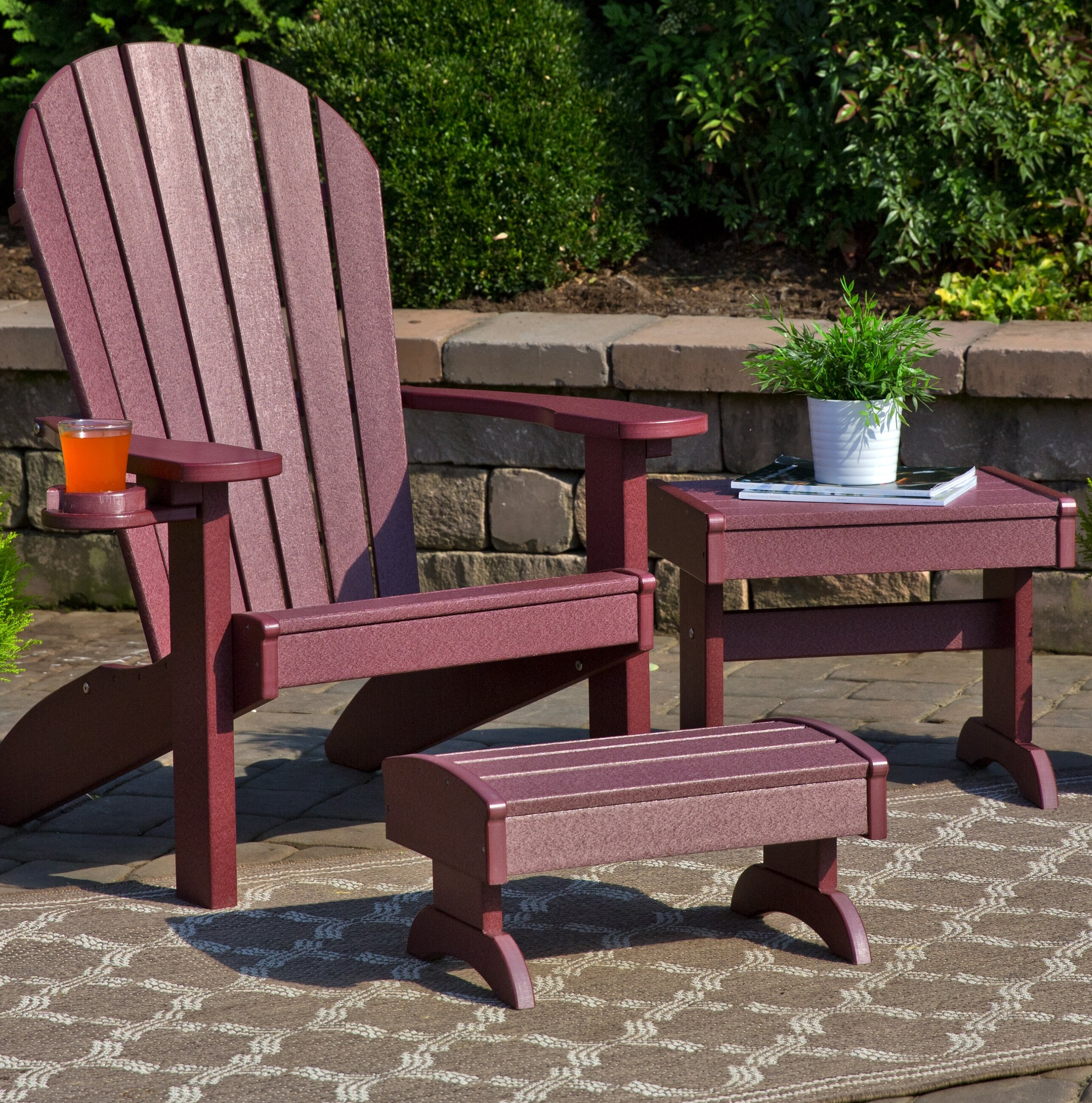 Kells 3 Piece Plastic Adirondack Chair Set With Ottoman And Table Joss Main