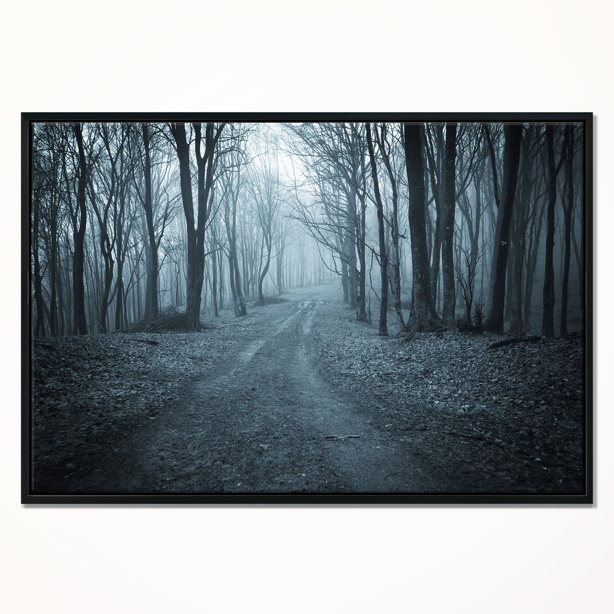 East Urban Home Landscape Dark Scary Forest With Fog Framed Photographic Print On Wrapped Canvas Wayfair